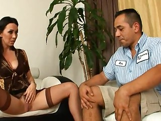The sight of hard sex toys makes older honey lascivious