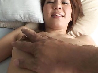 Pretty Oriental mummy i'd homologous to to fuck sucks on hard schlong and her hirsute cunt fingered
